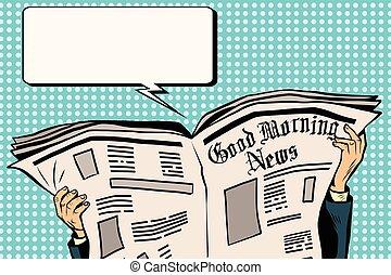 חדשות, עיתון, קרא, לוחץ