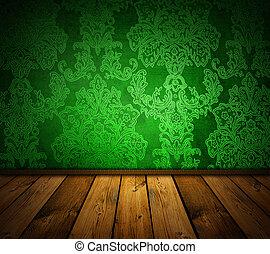 חד, ירוק, בציר, interio