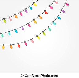 חוטים, של, צבעוני, קישוטי, אורות של חג ההמולד