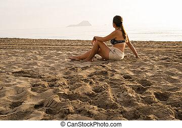 חוף, אישה, יושב, חול