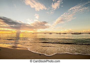 חוף טרופי, פיליפינים, שקיעה