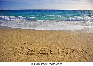 חופש, חוף של חול, חתום