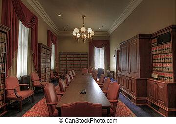 חוק, חדר של פגישה, ספריה