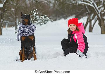 חורף, בעל, ילדות, שני, שמח, snow., בחוץ, כיף, לשחק, ילדים, יום, שמח