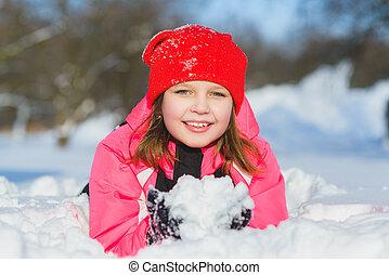 חורף, בעל, snow., בחוץ, ילד, כיף, ילדה, לשחק, שמח, יום, שמח