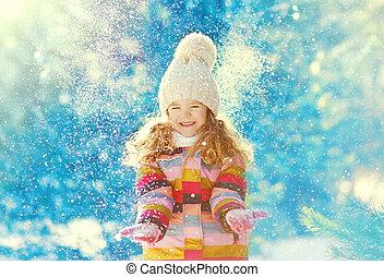 חורף, השלג, לשחק, ילד, כיף, בעל, יום, שמח