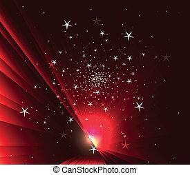 חושך, כוכבים, רקע אדום