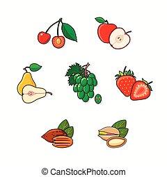 חושך, רקע., קבע, הפרד, פירות