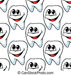 חזור על, תבנית, של, שמח, שיניים בריאים