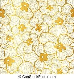 חזור על, תבנית, flowers., foil., וקטור, pashy, זהב, seamless