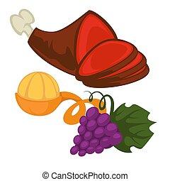 חזיר, רגל, אוכל, מנדרינה, ענבים, מנדרינה, או, צרור
