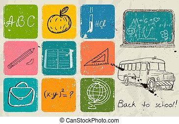 חזרה ל- בית ספר, העבר, ציור, poster.