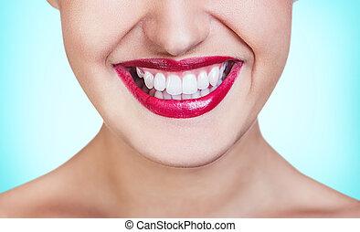 חיוך מואר, עם, שיניים בריאים