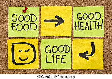 חיים, בריאות טובה, אוכל