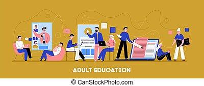 חינוך, אונליין, מבוגר, דגל