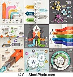 חיצים, עסק, שיווקי, infographic, template., וקטור, illustration., יכול, be, השתמש, ל, זרימת עבודה, מבנה, דגל, תרשים, מספר, אופציות, רשת מעצבת, קו זמן, elements.