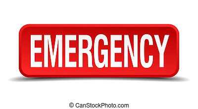 חירום, אדום, 3d, ריבוע, כפתר, הפרד, בלבן, רקע