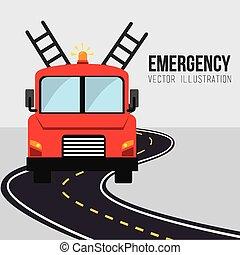 חירום, עצב, וקטור, illustration.