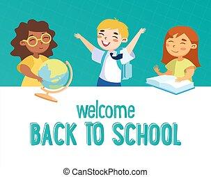 חכם, concept., תלמיד, ילקוט, השקע, בית ספר, גלובוס, אותיות, ספרים, קבלת פנים, שמח, ילדים, מדים