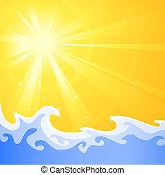 חם, קיץ, שמש, ו, התקרר, להרגע, השקה, גלים