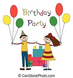 חמוד, יום הולדת, ילדים, דוגמה, מפלגה