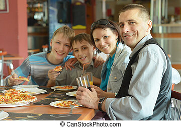 חמוד, לאכול, משפחה, פיצה