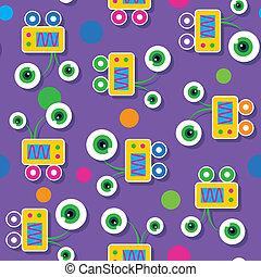 חמוד, big-eyed, רובוטים, תבנית