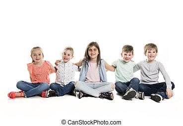 חמשה, ילדים, קבץ, צעיר, אולפן