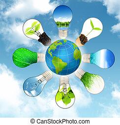 חסוך, כוכב לכת, -, ירוק, מושג, אנרגיה