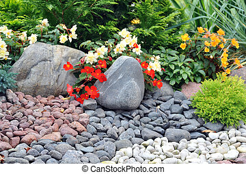 חצר אחורית, קשט, עם, אבנים