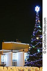 חצר, עץ, השלג, beautifully, כסה, קשט, חג המולד