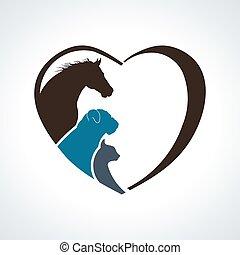 חתול, לב, סוס, love., כלב, ביחד, בעל חיים