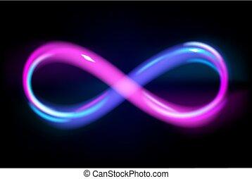חתום, illustration., שחור, כחול, אין סוף, קו, וקטור, נצחי, רקע, סגול, מבריק, סמל, נאון, אנרגיה, אור