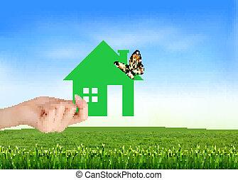 טבעי, דיר, vector., ירוק, רקע., העבר