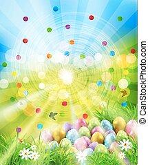 טבעי, כחול, ביצים, מטושטש, פרחים, רקע., פרפרים, וקטור, רקע ירוק, לבן, דשא, חג הפסחה