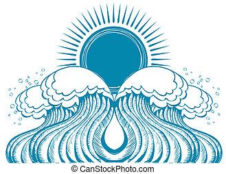 טבע, סמל, דוגמה, וקטור, ים, waves.