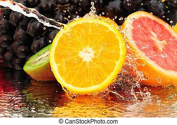 טהור, פרי, ב, a, ריסוס של מים