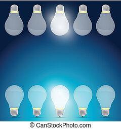 טוב, אור, רעיון, דוגמה, מושג, עצב, נורת חשמל