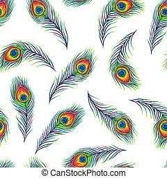 טווס, נוצות, pattern., seamless