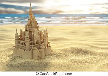 טירה של חול, על החוף, ב, ה, ים, ו, שמיים, רקע.