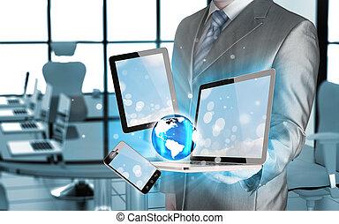 טכנולוגיה, ב, ה, ידיים, של, אנשי עסקים