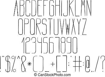 טכני, אלפבית, סיגנון, drawing.