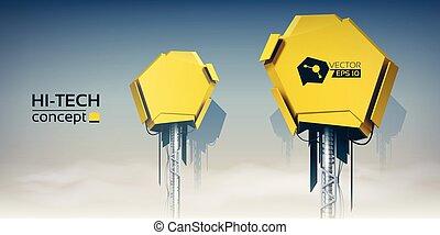 טכני, צהוב, שני, מכשירים, הייטק