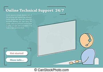 טכני, -, תמוך, דגל, אונליין