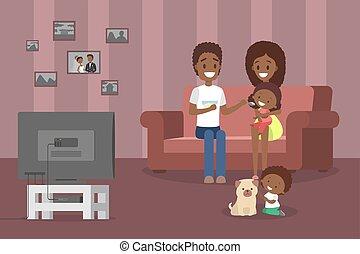 טלויזיה חיה, חדר, משפחה, להסתכל