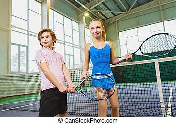 טניס, שבתוך הבית, להניח, לשחק, ילדים