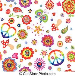 טפט, גדול, היפי, צבעוני, פרפר, ילדותי, סמל של שלום, פרחים, תקציר