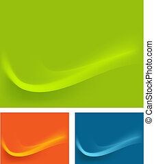טפט, של, ירוק, כחול, תפוז, גלים, השפעות, רקע