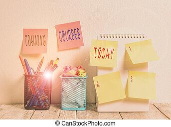 טקסט, עסק, עבודה מאלפת, desk., מושג, סירים, הסתבב, לכתוב, קיר, עבודה, רואה, למד, דביק, מילה, שיעורים, מומחיויות, מחברת, courses., ידע, 2, 6, פתוח, עפרון