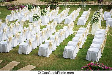 טקס של חתונה, ב, a, יפה, גן